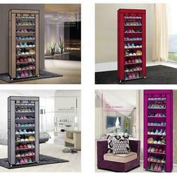10 Layer 9 Grid Shoe Rack Shelf Storage Closet Organizer Cab