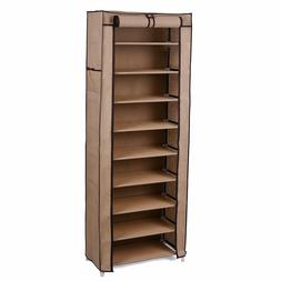SONGMICS 10-Tier Shoe Tower Rack with Cover 27-Pair Space Sa