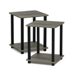 Furinno 12127GYW/BK Simplistic End Table, French Oak Grey/Bl