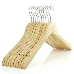"""Hangerworld™ 17.5"""" Natural Wooden Top Jacket Coat Hangers"""