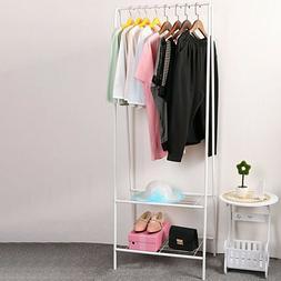 2-Tier Entryway Garment Rack Clothes Hanger Shoe Bench Close