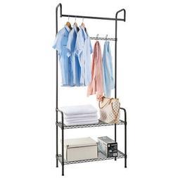 2-Tier Portable Closet Organizer Storage Rack Clothes Hanger