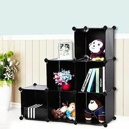 3-Tier Bookcase Storage 6-Cube Organizer Plastic Closet Shel