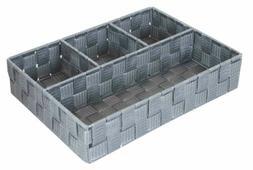 Home Basics 4 Compartment Woven Organizer, Grey - PB45373
