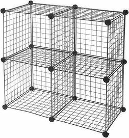 4-Cube Storage Shelves Closet Organizer Stackable Rack Metal