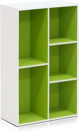 Furinno 5-Cube Reversible Open Shelf, White/Green 5-Cube,