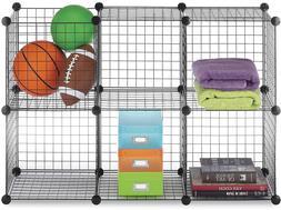 6-Cube Storage Shelves Closet Organizer Stackable Rack Metal