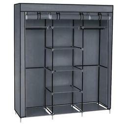 "69"" Simple Portable Closet Double Rod Storage Organizer Clot"