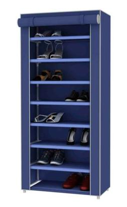 Home Basics  8 Tier Portable Polyester Shoe Closet, Navy