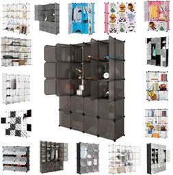 "86"" Portable Clothes Storage Closet Organizer Shelf Wardrobe"