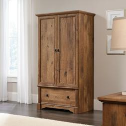 Armoire Wardrobe Storage Closet Vintage Oak Finish Drawer Ro