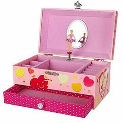 SONGMICS Ballerina Music Jewelry Box Storage Case for Little