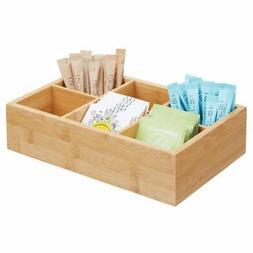 mDesign Bamboo Wood Tea & Food Organizer Bin - 6 Divided Sec
