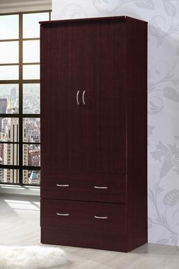 Bedroom Armoire 2-door 2-drawers mahogany wardrobe storage c