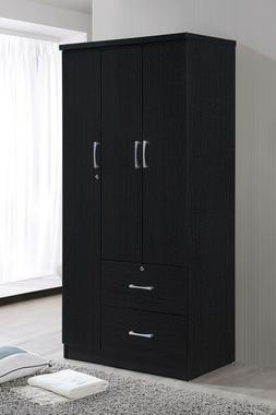 Bedroom Armoire 3 Doors 2 Drawers Closet Wardrobe Clothes St