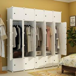 Bedroom Wardrobe Closet Armoire Storage Organizer w/ Doors 1