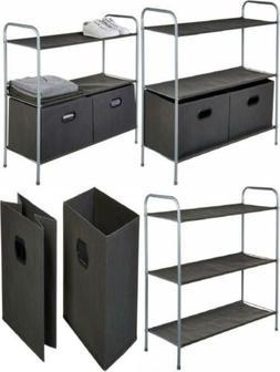 closet storage organizer laundry hamper with bins