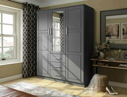 Cosmo 3-Door Wardrobe/Armoire/Closet with Mirror and 3 Drawe