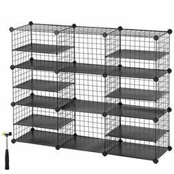 SONGMICS Cube Storage Unit, Shoe Rack, Interlocking Metal Wi