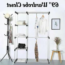 Deluxe Double Rod Closet Organizer Freestanding Wardrobe Sto