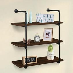 Espresso Metal Pipe Wall Mounted Shelf Storage Display Float