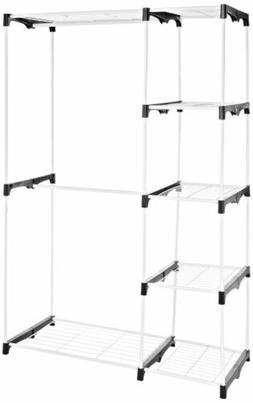 AmazonBasics Double Rod Freestanding Closet - White Wardrobe