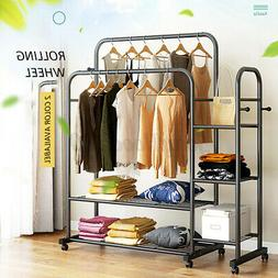 double rolling garment clothes rack hanger home