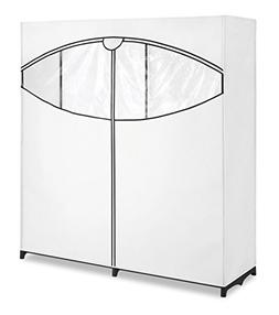 """Whitmor Extra-Wide Clothes Closet 60"""" Black with White Cov"""