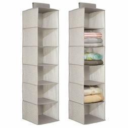 mDesign Fabric Hanging Closet Storage Organizer for Clothing