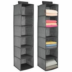 mDesign Fabric Over Closet Rod Hanging Organizer, 6 Shelves,