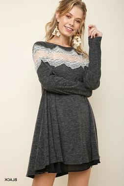 Umgee Black Floral Lace Detail Long Sleeve Heathered Knit Dr