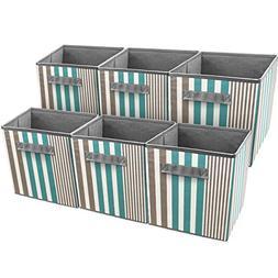 Sorbus Foldable Storage Cube Basket Bin, Vertical Stripe Lin