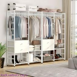 Free-Standing & Portable Closet Garment Rack with 2 Drawers