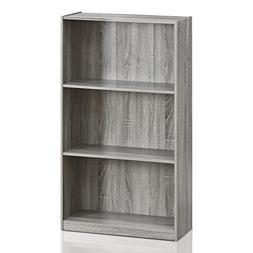 Furinno 99736GYW Basic 3-Tier Bookcase Storage Shelves, Fren