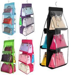 Hanging Handbag Organizer,6 Pocket Shelf Bag Storage Holder