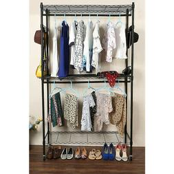 Heavy Duty Rolling Garment Rack Clothes Shelf Double Hanger