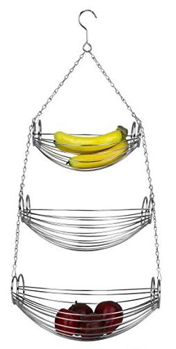 Home Basics NEW 3 -Tier Hanging Basket Hammock Silver Chrome