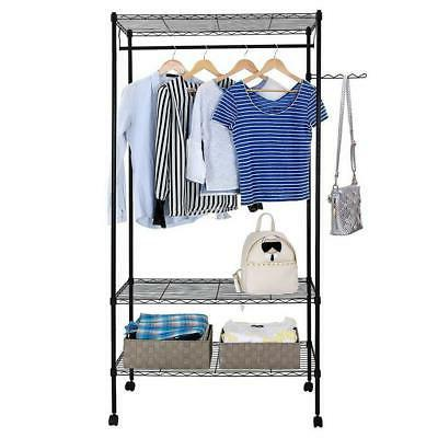 3 tier closet organizer metal garment rack