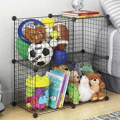 4-Cube Shelves Closet Organizer Rack Grid Wire