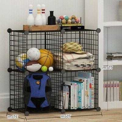 4-Cube Storage Closet Organizer Rack Grid Wire