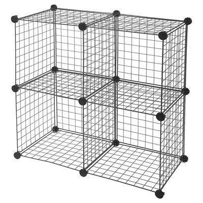 4-Cube Storage Organizer Metal Grid Box