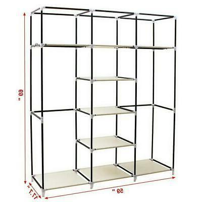 "69"" Portable Closet Wardrobe Clothes Ample Storage Space Organizer Armoire"