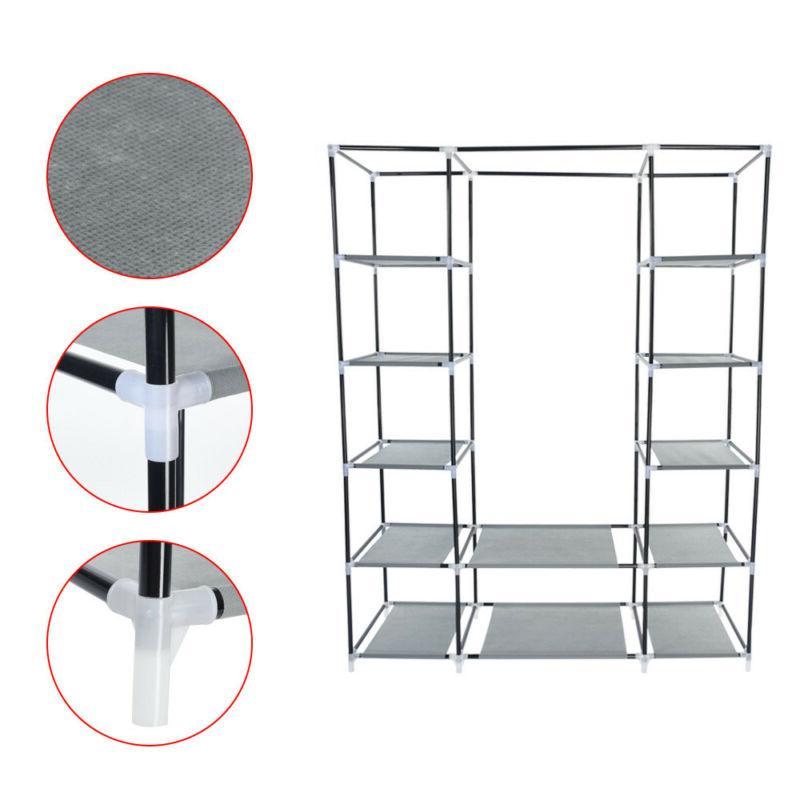 "69"" Wardrobe Closet Storage Organizer Hanging Rack With Shelves"
