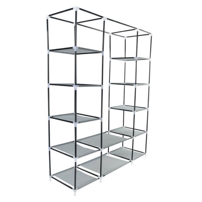 "69"" Portable Wardrobe Storage Organizer Clothes Hanging Rack With Shelves"