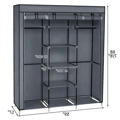 Closet Wardrobe Portable Clothes Storage Organizer with Meta