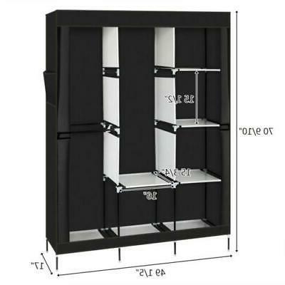 "71"" Closet Organizer Wardrobe Shelves Fabric Steel"