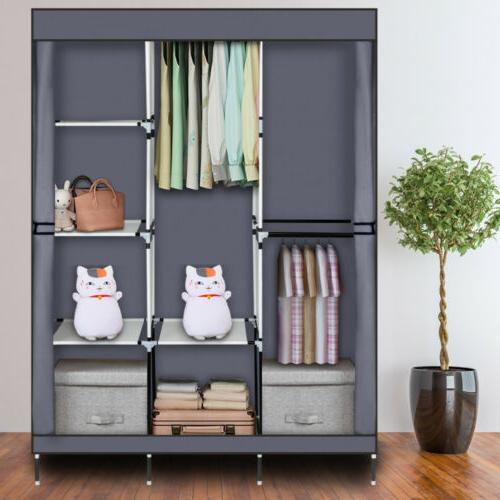 High Wardrobe Rack Storage Organizer w/Shelf