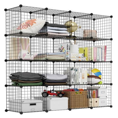 "86"" Portable Closet Organizer Shelf Wardrobe Rack Fabric"