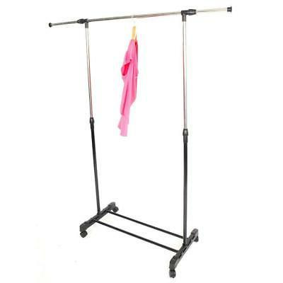 Adjustable Portable Clothes Garment Rack Steel Rolling Close