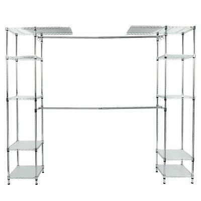 Closet Adjustable Organizer Storage Rack Wardrobe Garment Hanger Bedroom